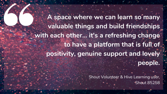 A space where we can learn so many valuable things and build friendships with each other... it's a refreshing change to have a platform that is full of positivity, genuine support and lovely people. Shout Volunteer & Hive Learning user, Shout 85258