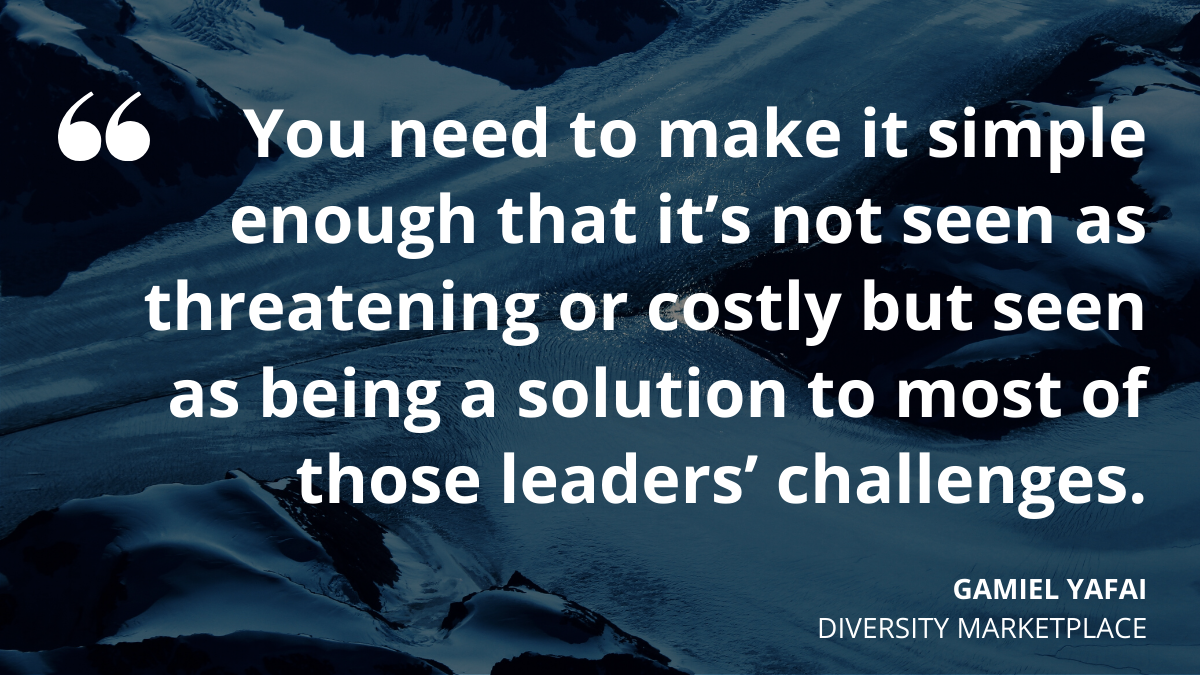 'You need to make it simple enough that it's not seen as threatening or costly but being seen as a solution to most of those leaders' challenges.' Gamiel Yafai, Diversity Marketplace