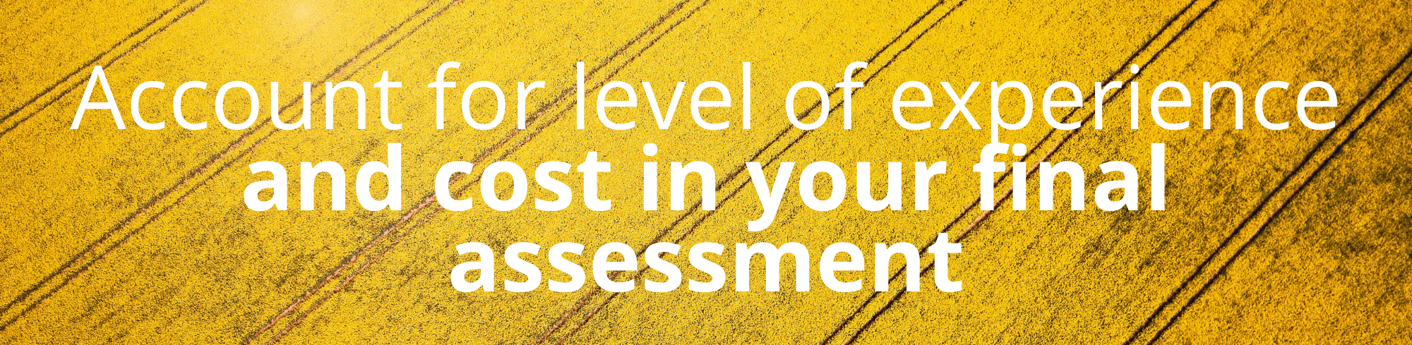 Account for level of experience and cost in your final assessment