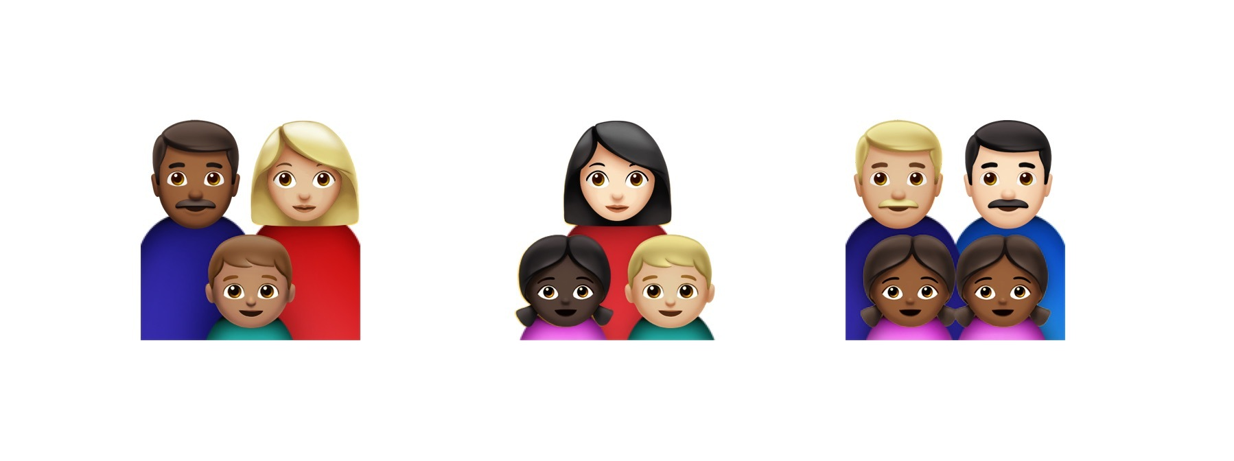 Emojis showing diverse family types by Emojipedia